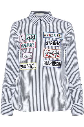ALICE + OLIVIA JEANS Willa appliquéd striped cotton-poplin shirt
