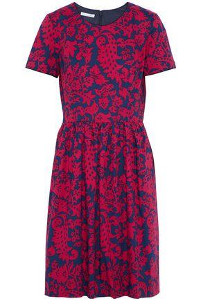OSCAR DE LA RENTA Pleated printed stretch-cotton mini dress