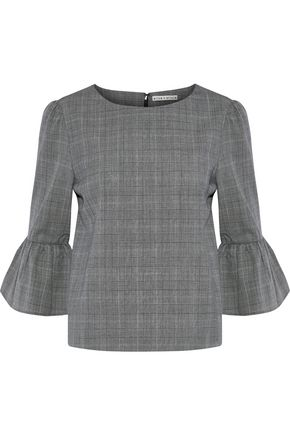 ALICE + OLIVIA Bernice ruffled checked wool-blend blouse