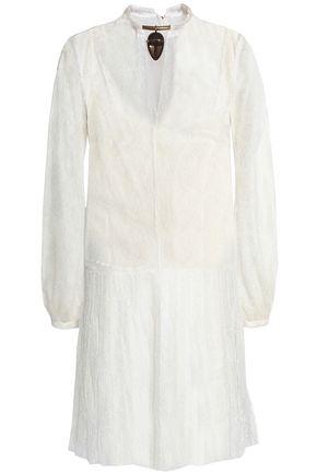 VALENTINO Layered appliquéd pleated silk-lace mini dress