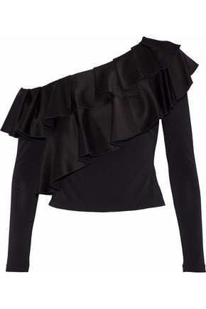 ALICE + OLIVIA Izzy one-shoulder ruffled satin-crepe top