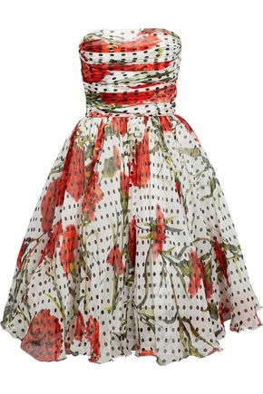 DOLCE & GABBANA Strapless ruched printed silk-blend georgette dress