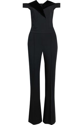 L'AGENCE Off-the-shoulder velvet-trimmed stretch-knit jumpsuit