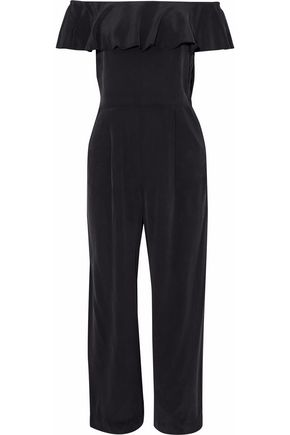 L'AGENCE Nicolle off-the-shoulder ruffled washed-silk jumpsuit