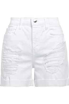 L'AGENCE Distressed denim shorts