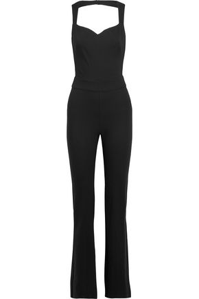 L'AGENCE Cutout stretch-ponte flared jumpsuit