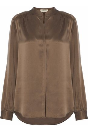 L'AGENCE Gathered silk-satin blouse