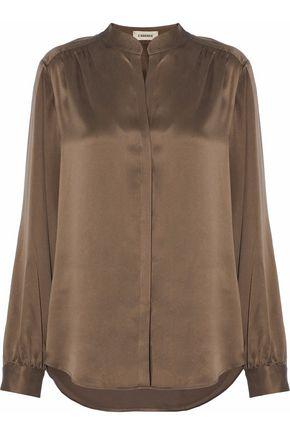 L'AGENCE Bianca silk satin-crepe blouse