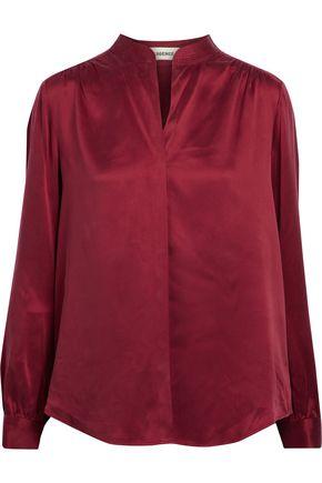 L'AGENCE Gathered silk-satin blouse