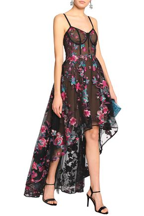 MARCHESA NOTTE Asymmetric embroidered tulle gown