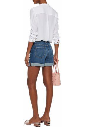 L'AGENCE Distressed denim shorts