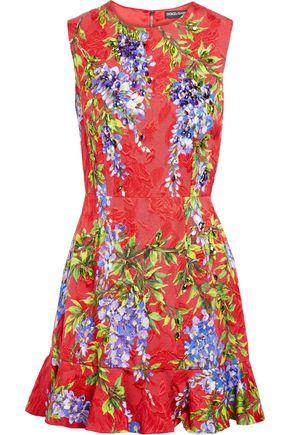 DOLCE & GABBANA Crystal-embellished floral-print jacquard mini dress