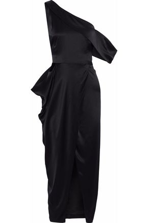 MICHELLE MASON One-shoulder draped silk-satin midi dress
