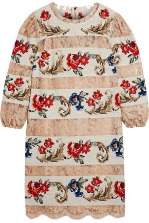 DOLCE & GABBANA Paneled lace and jacquard mini dress