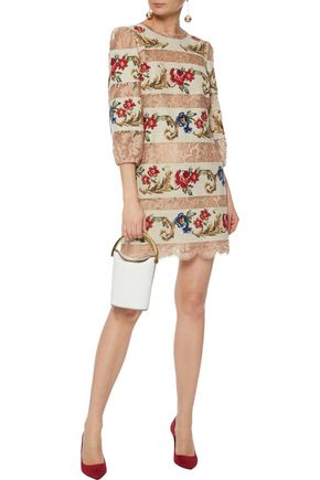 Dolce Gabbana Paneled Lace And Jacquard Mini Dress