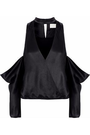MICHELLE MASON Cold-shoulder wrap-effect silk-satin blouse