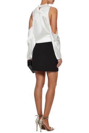 MICHELLE MASON Cold-shoulder wrap-effect cutout silk-satin top