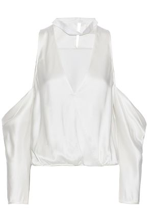 MICHELLE MASON Cold-shoulder wrap-effect cutout silk-satin top