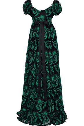 DOLCE & GABBANA Satin bow-detailed embroidered fil coupé tulle gown
