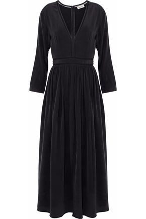 L'AGENCE Rosalia gathered washed-silk midi dress