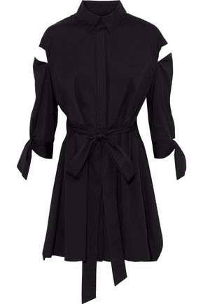MILLY Tie-front cutout cotton-blend poplin shirt dress