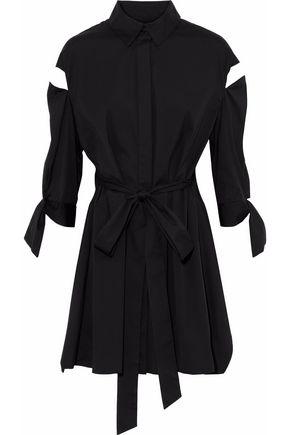 MILLY Slitted Avery layered cutout cotton-blend poplin mini dress