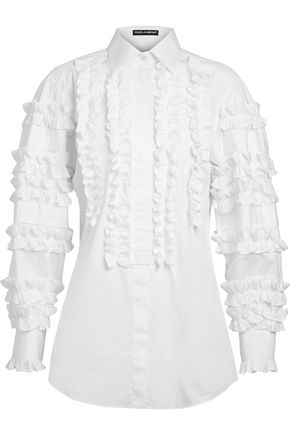 DOLCE & GABBANA Ruffled cotton-poplin shirt
