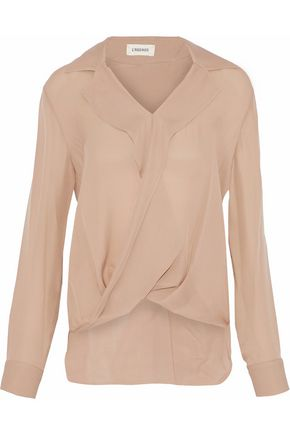 L'AGENCE Rita wrap-effect washed-silk blouse