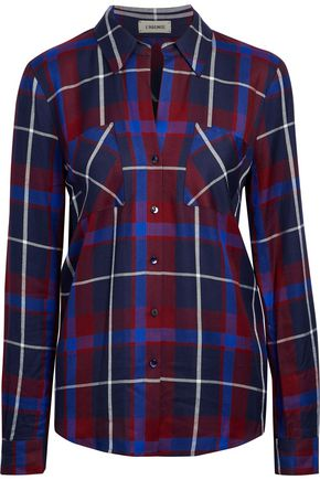 L'AGENCE Silk-paneled checked twill shirt