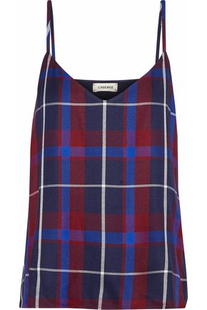 L'AGENCE Jane checked twill camisole
