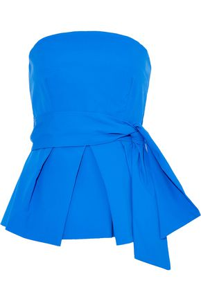 MILLY Kylie strapless tie-front pleated cotton-blend poplin top