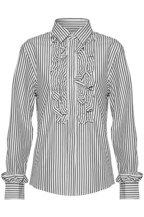 ALEXA CHUNG Ruffle-trimmed striped cotton-poplin shirt