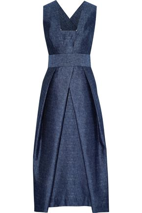 MILLY Elisa pleated chambray midi dress
