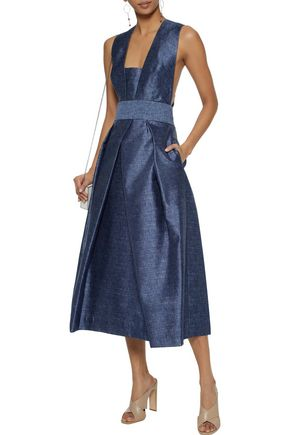 MILLY Elisa pleated chambray midi dress