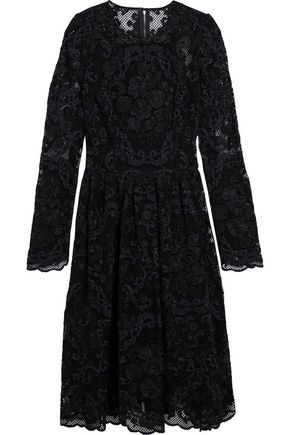 DOLCE & GABBANA Pleated cotton-blend lace dress