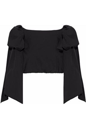 MILLY Tara cropped bow-detailed cotton-blend poplin top