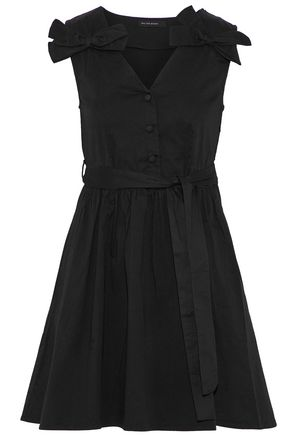 W118 by WALTER BAKER Lauren bow-embellished pleated cotton-poplin mini dress