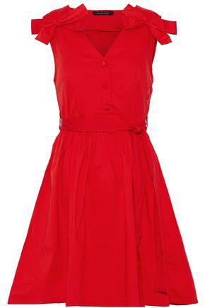 W118 by WALTER BAKER Lauren bow-embellished pleated cotton-poplin mini dress