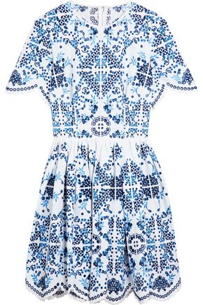DOLCE & GABBANA Pleated broderie anglaise cotton-blend mini dress