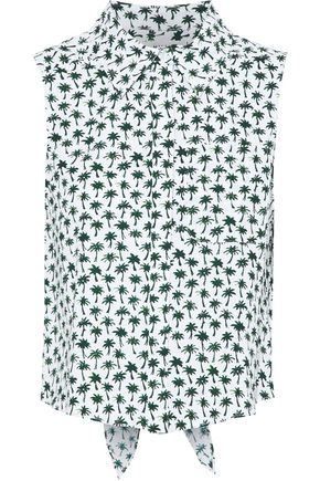 MILLY Leah knotted printed cotton-blend top