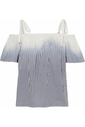 MILLY Eden cold-shoulder striped dégradé stretch-cotton top