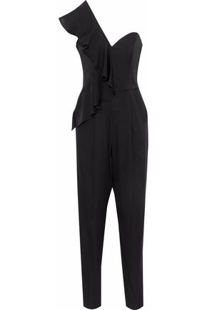 MILLY One-shoulder ruffle-trimmed stretch silk-satin jumpsuit