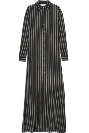 LANVIN Crystal-embellished striped silk-chiffon tunic