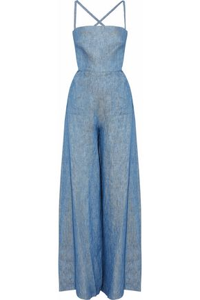 MILLY Lace-up linen-blend chambray jumpsuit