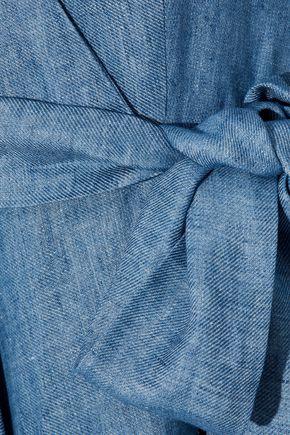 MILLY Valerie linen-blend chambray wrap dress