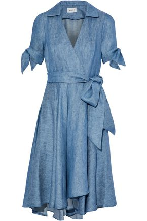 MILLY Valerie linen-blend chambray wrap dress