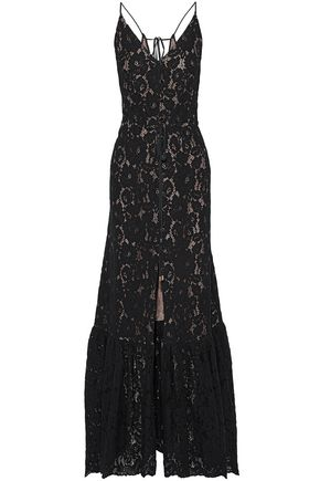 LANVIN Wrap-effect button-detailed corded lace gown