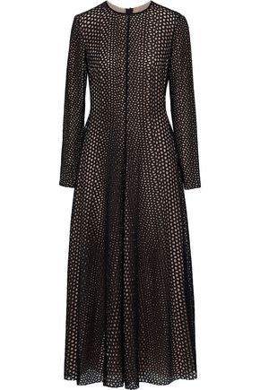 LANVIN Broderie anglaise cotton and silk-blend midi dress