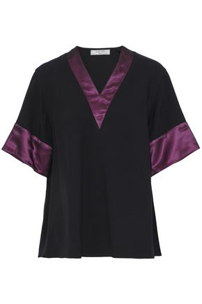 LANVIN Satin-trimmed crepe blouse