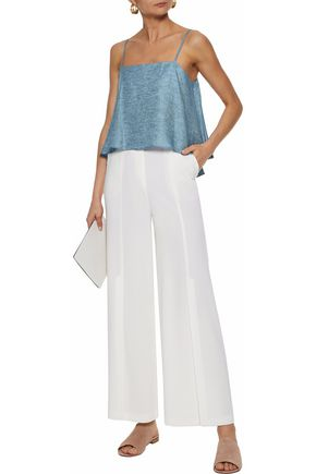 MILLY Laurel open-back linen-blend chambray top